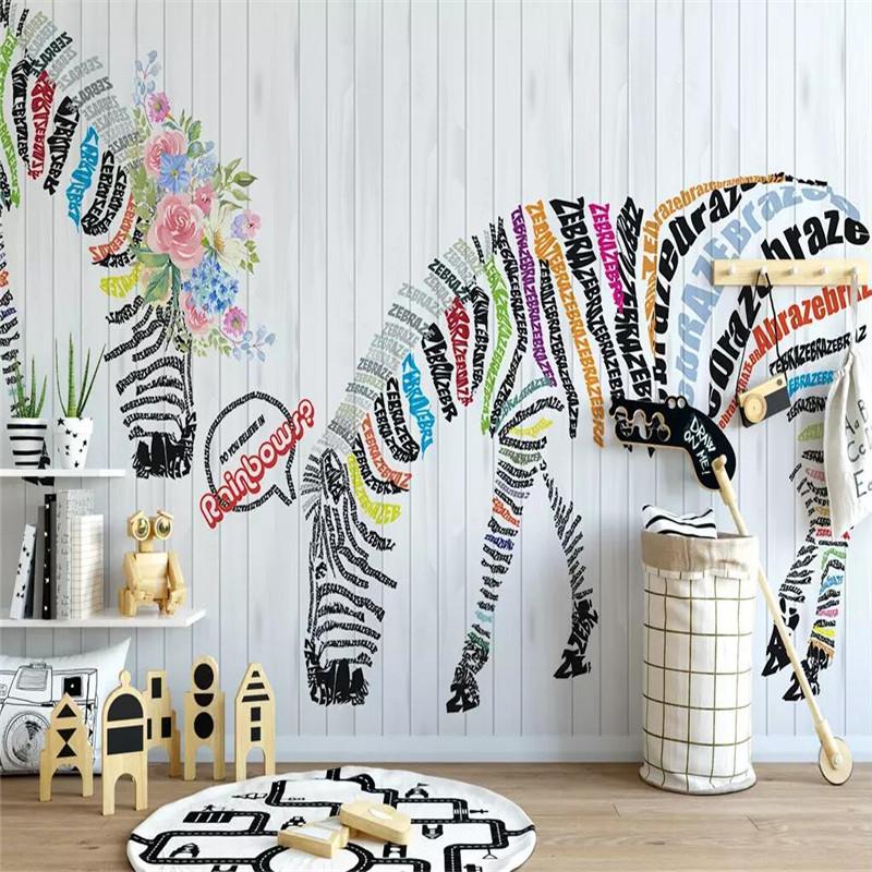 [해외]Nordic abstract zebra flower Nordic background wall decoration painting professional production mural custom photo wallpaper /Nordic abstract zebr