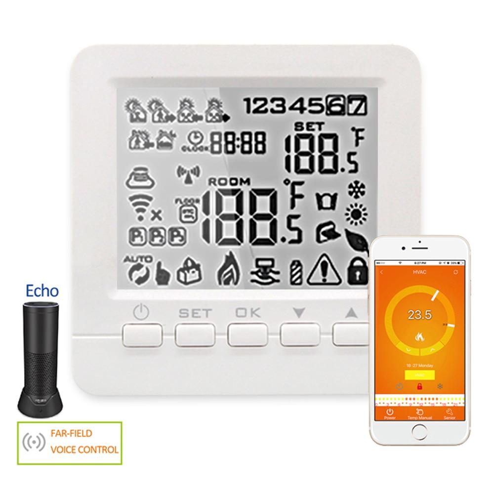 [해외]에코 알렉사 와이파이 온도 조절기 스마트 프로그래밍 가능한 물/가스 보일러 난방 층 겨울 음성 제어 실내 온도 컨트롤러/에코 알렉사 와이파이 온도 조절기 스마트 프로그래밍 가능한 물/가스 보일러 난방 층 겨울 음성 제어 실내 온도 컨트롤러