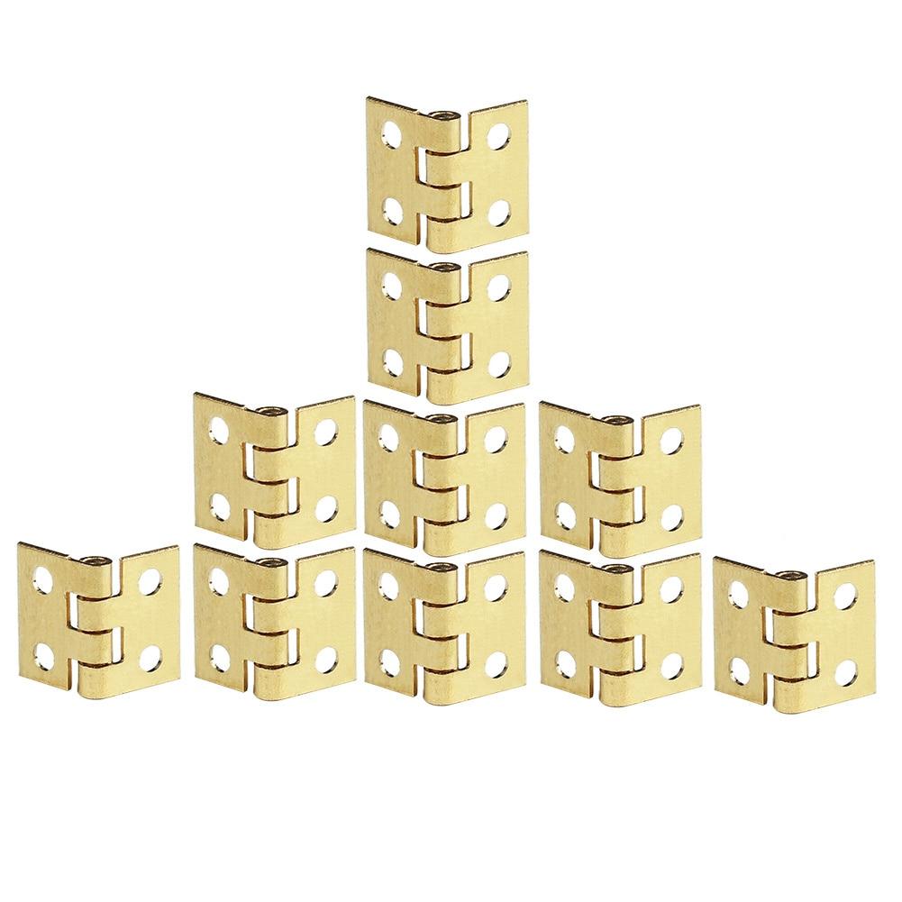 새로운 10 pcs 작은 경첩 금속 hardwear 인형 집 miniatures 가구 캐비닛 옷장 서랍 diy 공예 골드 톤 손톱