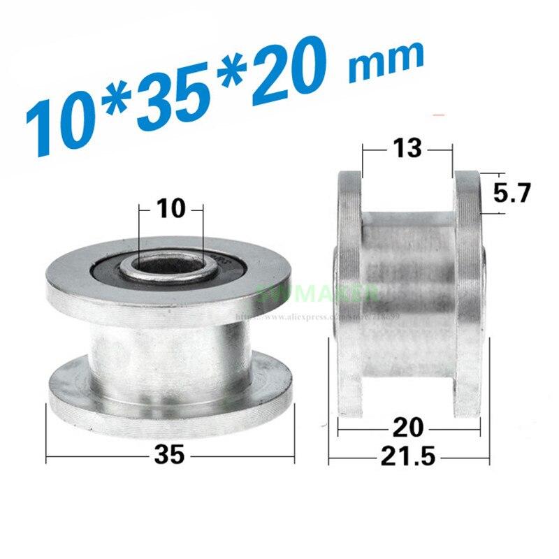 [해외]1pcs 10*35*20mm H grooved wheel, metal non-standard grooved pulley/roller, 6000-2RS bearing wheel/rolling guide wheel/1pcs 10*35*20mm H grooved wh