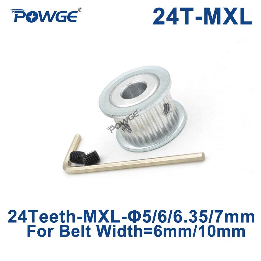 [해외]POWGE Inch Trapezoid 24 Teeth MXL Timing pulley Bore 5/6/6.35/7mm for width 6mm 10mm MXL Synchronous Belt Gear wheel 24teeth 24T/POWGE Inch Trapez