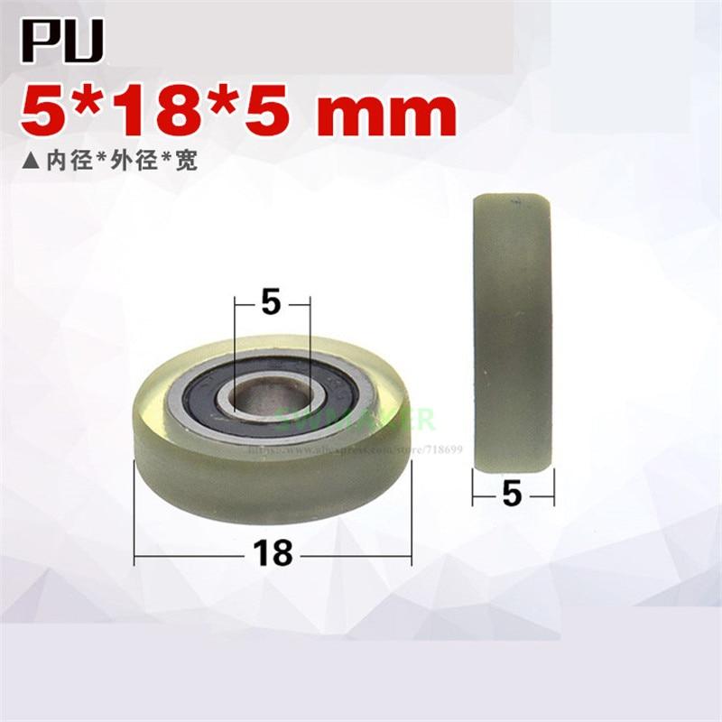 [해외]1pcs 5*18*5mm M5*18*5mm M6*18*5 rubber-coated polyurethane bearing pulley/rolling wheel, mute, miniature guide wheel /with screw/1pcs 5*18*5mm M5*