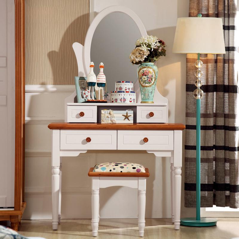 [해외]지중해, 흰색 화장 거울, 작은 아파트, 작은 방, 테이블의 거..