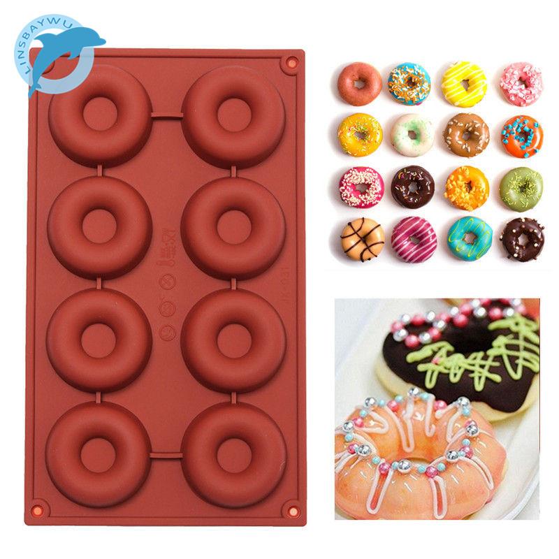 [해외]LINSBAYWU 1 개 8 \\ 18-Cavity 도넛 형 도넛 베이킹 금형 초콜릿 캔디 비누 실리콘 몰드 /LINSBAYWU 1 pcs 8\\18-Cavity Donut Doughnut Baking Mold Cake Chocolate Candy Soap Sili