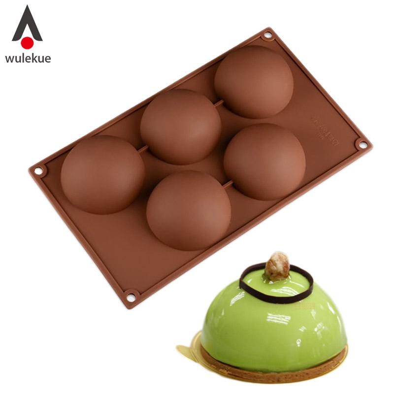 [해외]Wulekue 실리콘 5 구멍 둥근 모양 케이크 반구형 초콜릿 젤리 푸딩 베이킹 금형에 대 한/Wulekue Silicone 5 Holes Domed Round Shape Cake For Hemispherical Chocolate Jelly Pudding Bak