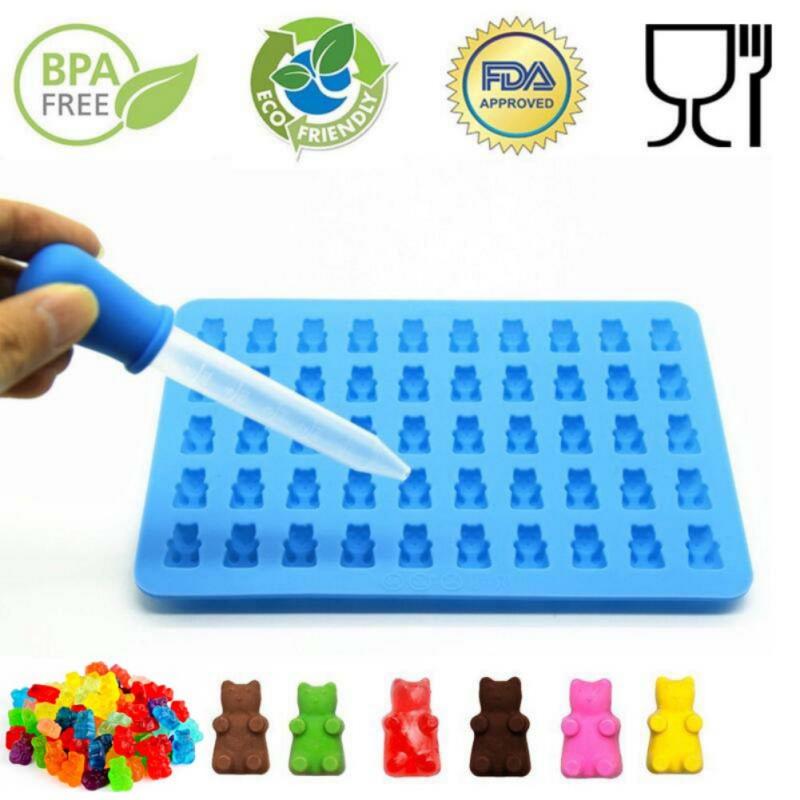[해외]새로운 50 캐비티 실리콘 몰드 캔디 초콜릿 거미 제조사 베어 트레이 JellyDropper LH8s/New 50 Cavity Silicone Mold Candy Chocolate Gummy Maker Bear Tray JellyDropper LH8s