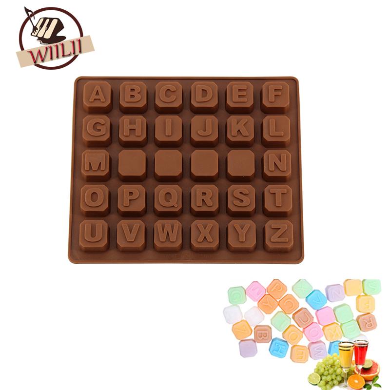 [해외]WIILII 실리콘 영어 편지 광장 모양 DIY 케이크 곰 팡이 장식 도구 초콜릿 쿠키 캔디/WIILII Silicone English Letter Square Shape DIY Cake Mold Bake Decoration Tool For Chocolate C