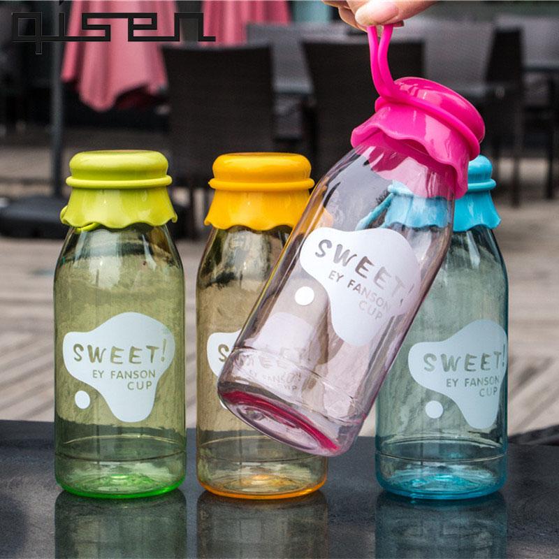 [해외]새로운 400ml 귀여운 만화 어린이 병 유형 달콤한 우유 병 비 독성 물 마시는 BottleLid 투어/New 400ml Cute Cartoon Children Bottle Type Sweet Milk Bottle Non-toxic Water Drinking