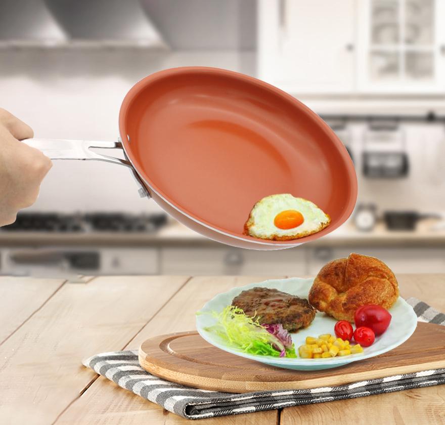 [해외]비 접착 성 구리 프라이팬 11 인치 조리기구 오븐 & amp; 식기 세척기 안전 세라믹 냄비 프라이팬 빨간색 냄비 Nonstick Skillet Copper Saucepan/Non-stick Copper Frying Pan 11 inch Cookware