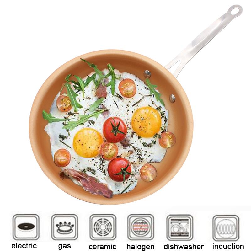 [해외]Nonstick 프라이팬 동 팬 12 인치 조리기구 오븐 & amp; 식기 세척기 안전 세라믹 냄비 붙지 않는 프라이팬 빨간색 냄비 구리 냄비/Nonstick Skillet Copper Pan 12 inch Cookware Oven & Dishwa