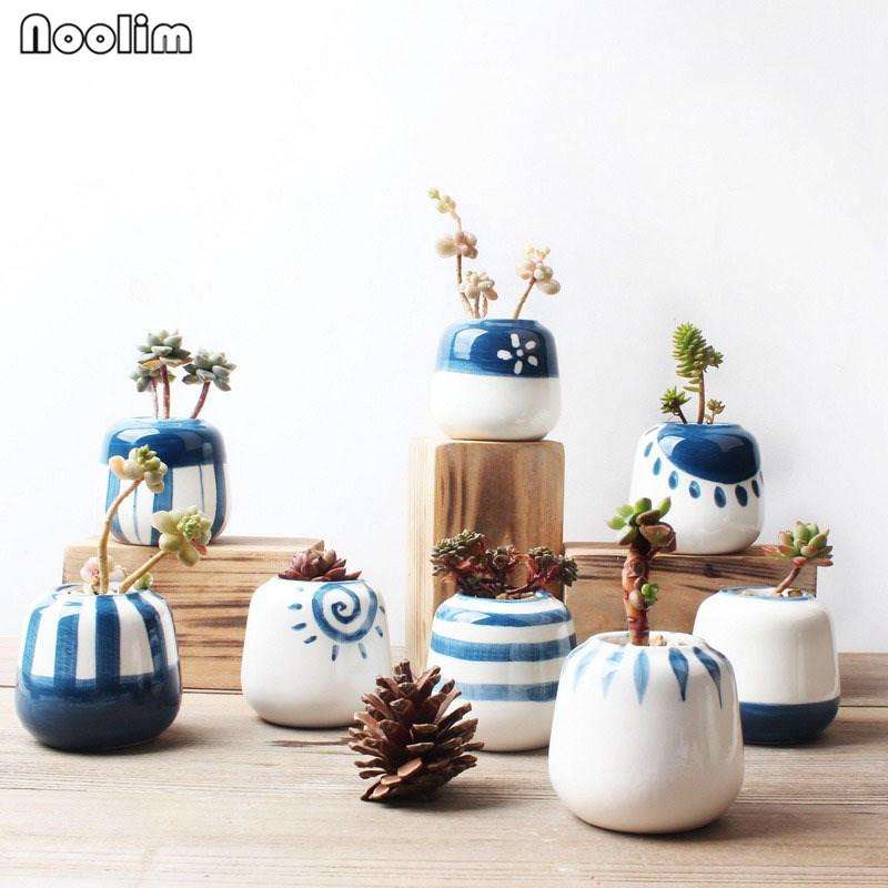 [해외]NOOLIM 8pcs / set 원래 디자인 미니 세라믹 즙이 많은 식물 냄비 손수 도자기 재배자 홈 장식 꽃 냄비 분재 재배자/NOOLIM 8pcs/set Original Design Mini Ceramic Succulent Plant Pot Handmade