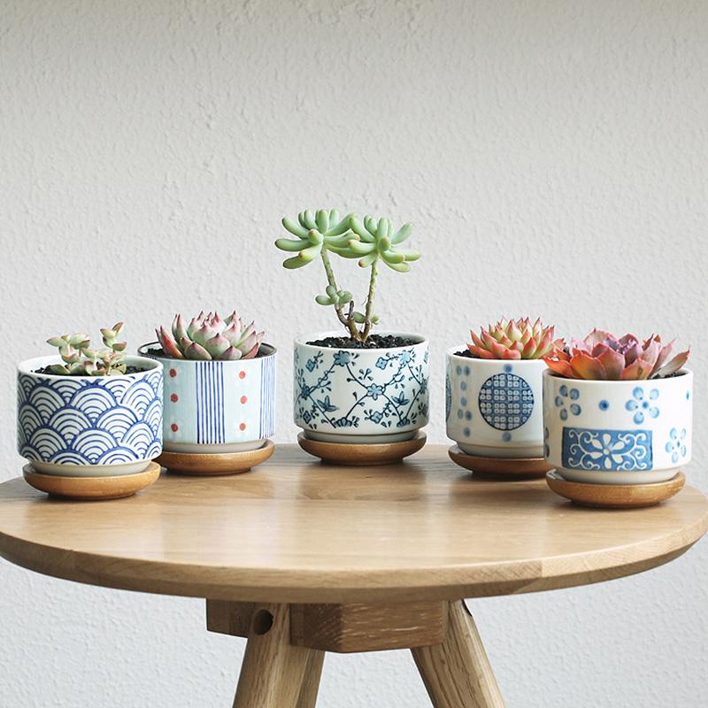 [해외]정원 용품 정원 꽃 냄비 경작 자 + 대나무 냄비 쟁반 일본식 세라믹 플로어 데스크탑 오피스 가정 장식 냄비/garden supplies garden flower pots planters+bamboo pot trays Japanese style ceramic f