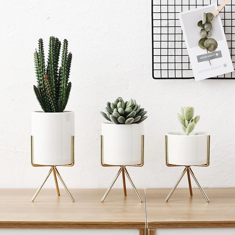 [해외]3pcs 세라믹 꽃 재배자 아이언 선반 세트 즙이 많은 식물 냄비 홈 장식 꽃병 구멍없이/Set of 3pcs Ceramic Flower PlantersIron Shelf Succulent Plant Pot Home Decorative Flower Vase wi