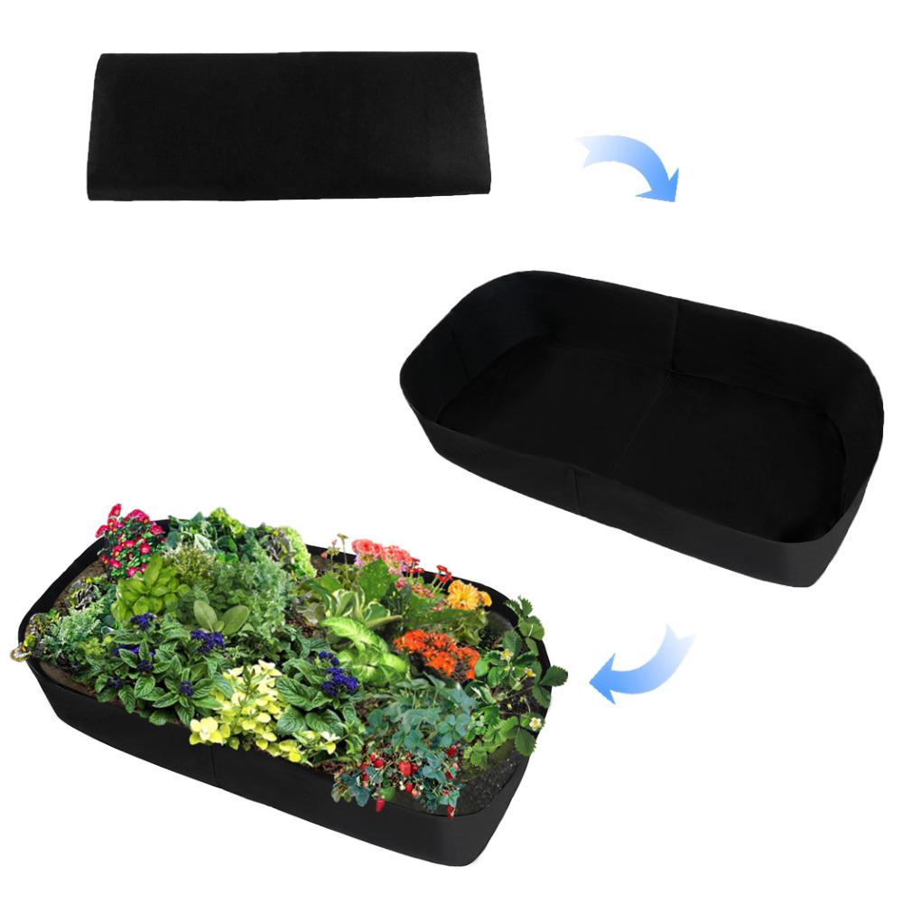 [해외]패브릭 제기 심기 침대 정원 성장 가방 허브 꽃 야채 식물 침대 사각 농장주/Fabric Raised Planting Bed Garden Grow Bags Herb Flower Vegetable Plants Bed Rectangle Planter