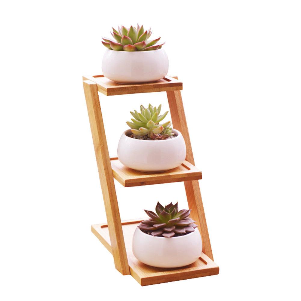 [해외]1 세트 현대 간단한 화이트 세라믹 화분 즙이 많은 식물 냄비 3 분재 재배자 - 계층 대나무 선반 홈 가든 장식/1Set Modern Simple White Ceramic Flowerpot Succulent Plant Pot 3 Bonsai Planters3-