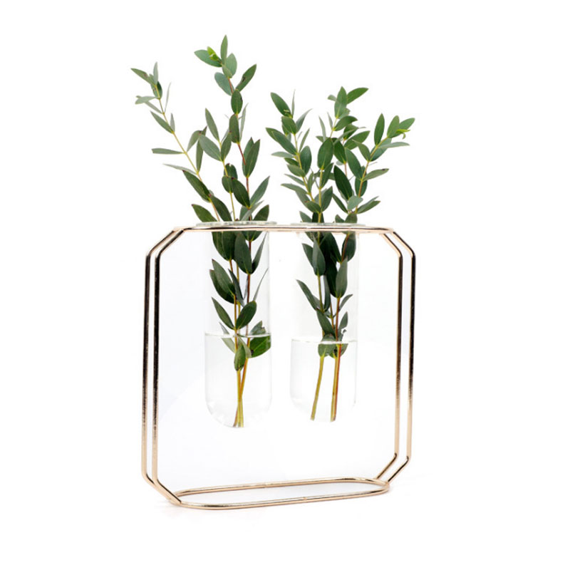[해외]투명 유리 튜브 VaseIron 스탠드 물 심기 꽃꽂이 장식 선물 S M L/Transparent Glass Tube VaseIron Stand For Water Planting Flower Arrangement Decoration Gift S M L