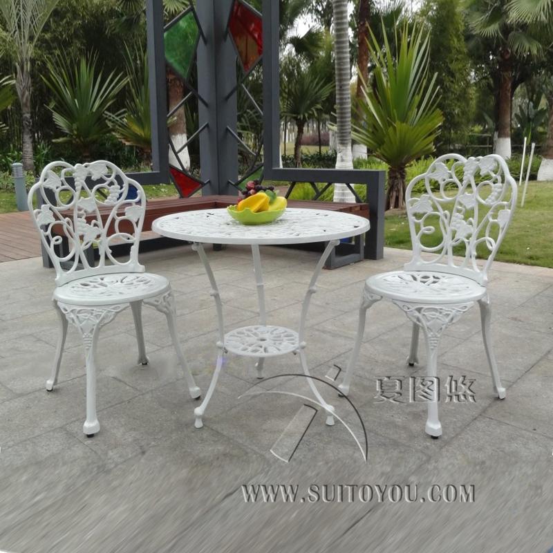 [해외]안뜰 가구 정원 가구 3 피스 알루미늄 테이블 및 의자 야외 가구 (흰색)/3-piece cast aluminum table and chair patio furniture garden furniture Outdoor furniture (white)