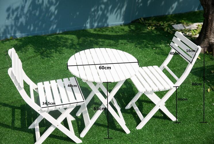 [해외]야외 나무 안뜰 가구 화이트 3 조각 접는 정원 세트 테이블과 의자 Foldable 풀 뒷마당 가구 라운드 카페 테이블/Outdoor Wood Patio Furniture White 3 Piece Folding Garden Set Table and Chair F