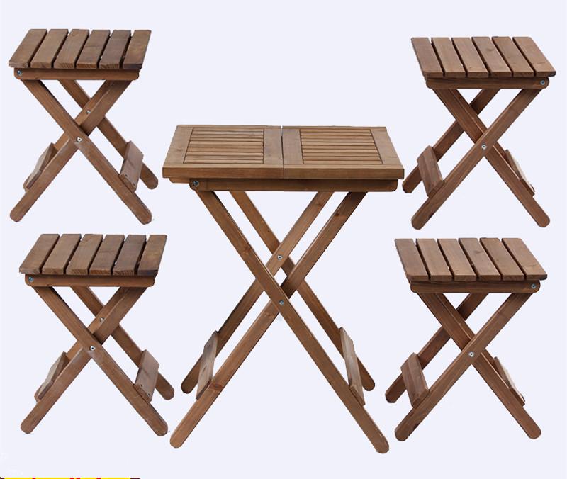 [해외]5 조각 옥외 목제 안뜰 가구 소박한 끝 5 개 조각 접히는 식탁 세트 야드 & amp;를의자 저녁 식사 & amp; 정원 장식/5 pieces Outdoor Wood Patio Furniture Rustic Finish 5 Piece Foldin