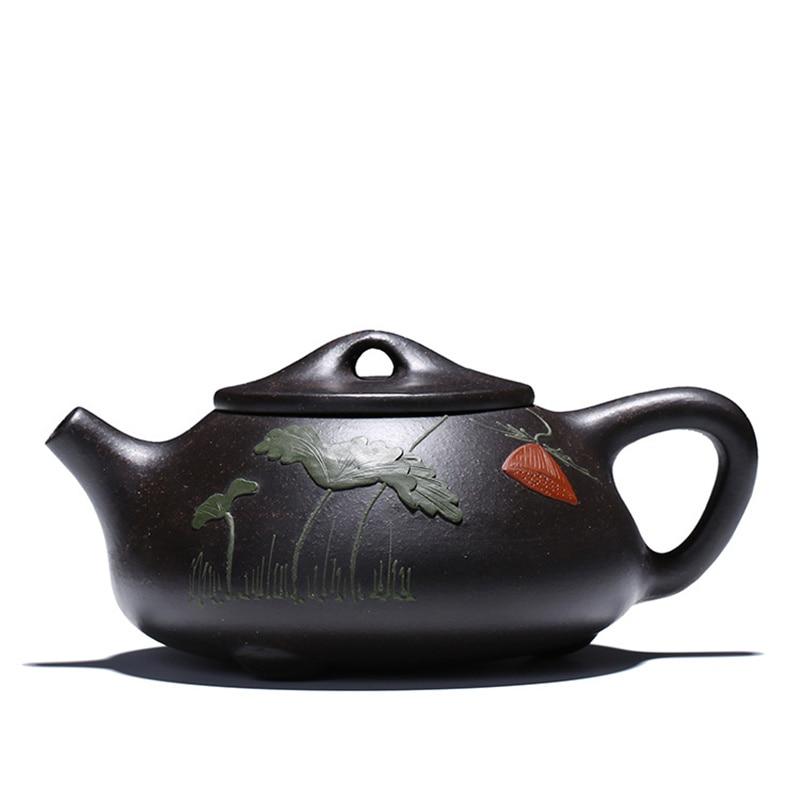 수제 yixing 검은 보라색 점토 조롱박 국자 모양 주전자 차 주전자 컵 주전자 drinkware