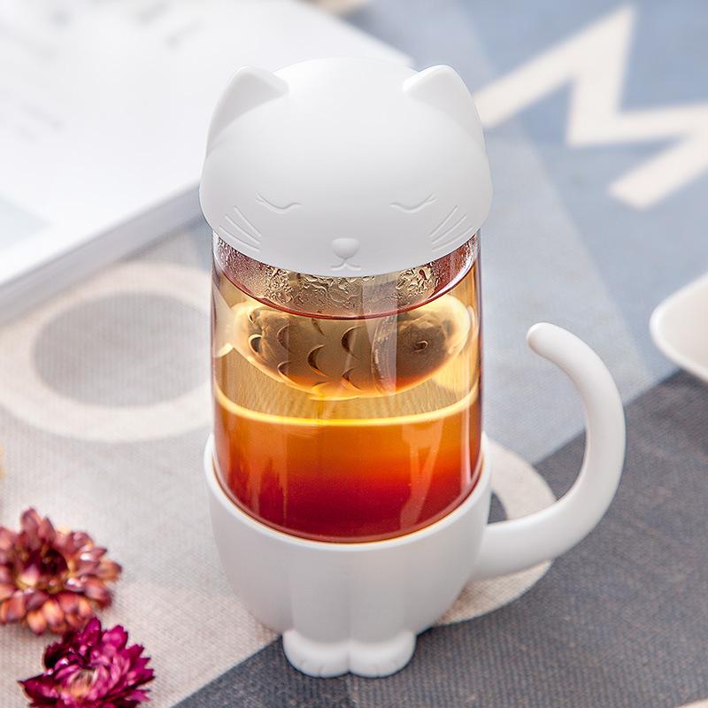 [해외]2019 New Design 300ml Cute Cat Dog Cup Tea Strainer Scented tea  For Tea Coffee Filter Drinkware Kitchen Tools Tea Mug /2019 New Design 300ml Cute