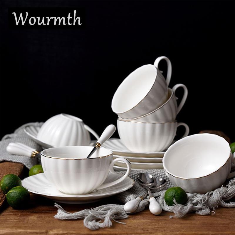 [해외]Wourmth European Pure white Coffee Cup Sets 220ml Ceramic Pumpkin  Gold rim Tea Cups And Saucers Office Drinkware Nice Gift/Wourmth European Pure
