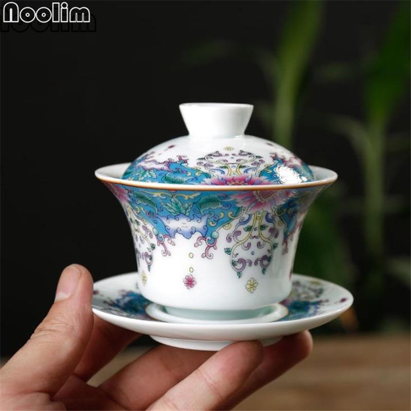 [해외]Jingdezhen 에나멜 가이완 세라믹 쿵푸 차 컵 도자기 중국 차 세트 drinkware