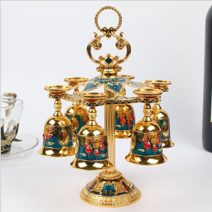 [해외]European 6pcs/set decorative metal wine cups wine set drink set whiskey decanter metal decorative cups for moonshine JB003/European 6pcs/set decor