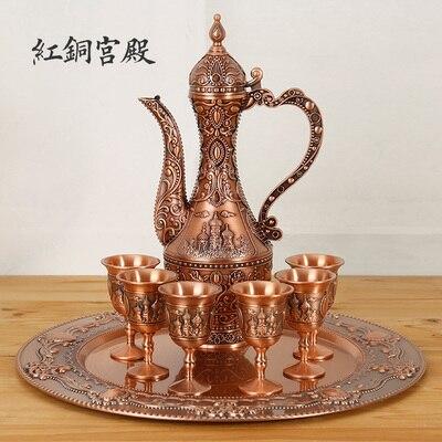 [해외]Domestic wine sets Russian European bronze goblet wine gift ornaments jug bottle tray flagon hip flask winepot copper bar set /Domestic wine sets