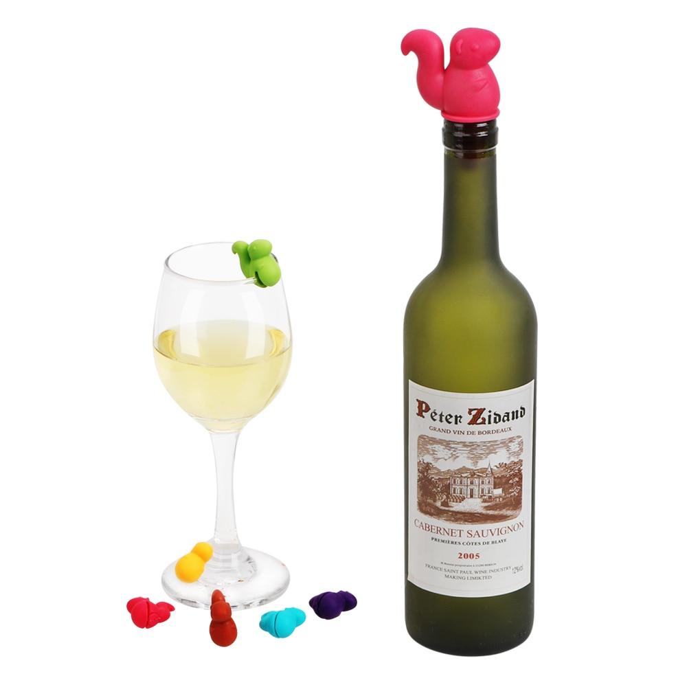 [해외]7 개/대 고무 와인 유리 레이블 음료 컵 mixproof 실리콘 마커 와인 코르크 플러그 귀여운 다람쥐 모양 와인 병 마개/7 개/대 고무 와인 유리 레이블 음료 컵 mixproof 실리콘 마커 와인 코르크 플러그 귀여운 다람쥐 모양 와인 병