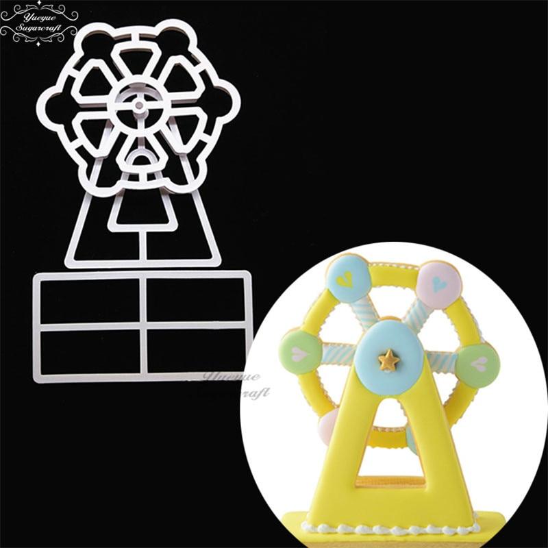 [해외]Yueyue Sugarcraft 3 PC 관람차 플라스틱 퐁당 커터 케이크 금형 퐁당 금형 퐁당 케이크 장식 도구/Yueyue Sugarcraft 3 PCS Ferris wheel plastic fondant cutter cake mold fondant mold
