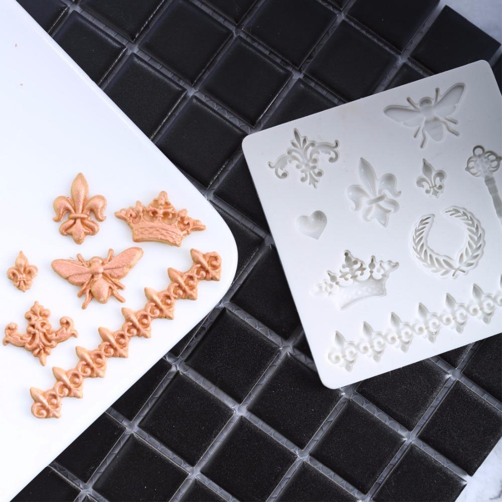 [해외]1 pc 크라운 심장 열쇠 곰팡이 도구 주방 설탕 붙여 넣기 장식 실리콘 몰드 금형 케이크 베이킹 DIY/1 pc crown heart key Silicone mold mould cake baking decorating fondant tool kitchen su