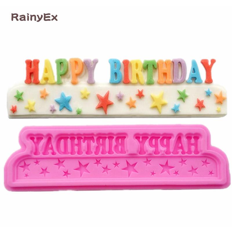 [해외]새로운 행복한 생일 실리콘 케이크 금형 쿠키 퐁당 금형 실리콘 금형 생일 케이크 장식 베이킹 과자 도구/New Happy Birthday Silicone Cake Mold Cookies Fondant Mould Stars Silicone Mold Birthday