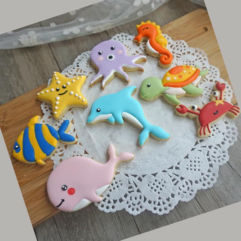 [해외]8PCS 바다 동물 불가사리 바다 말 거북 오징어 고래 쿠키 진저 금형 커터 퐁당 금형 케이크 Decerating DIY 도구/8PCS Sea Animal Starfish Sea Horse Turtle Squid Whale Cookies Gingerbread M