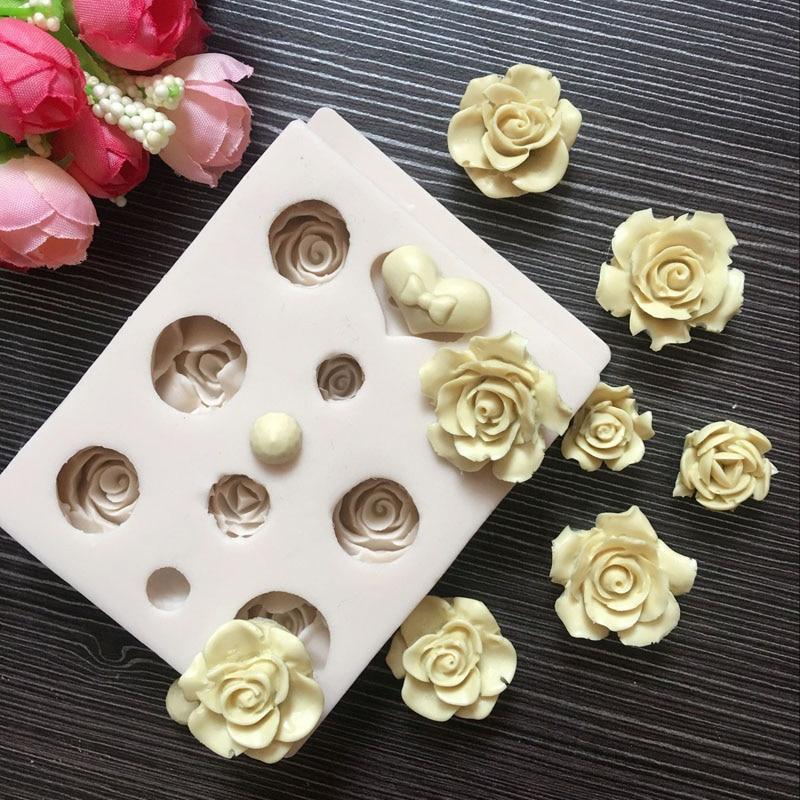 [해외]멀티 크기 사랑 로즈 모양의 실리콘 몰드 퐁당 케이크 꾸미기 Gumpaste 도구 초콜릿 캔디 베이킹 과자 몰드/Multi Sizes Love Rose Shaped Silicone Mould Fondant Cake Decorating Gumpaste Tools