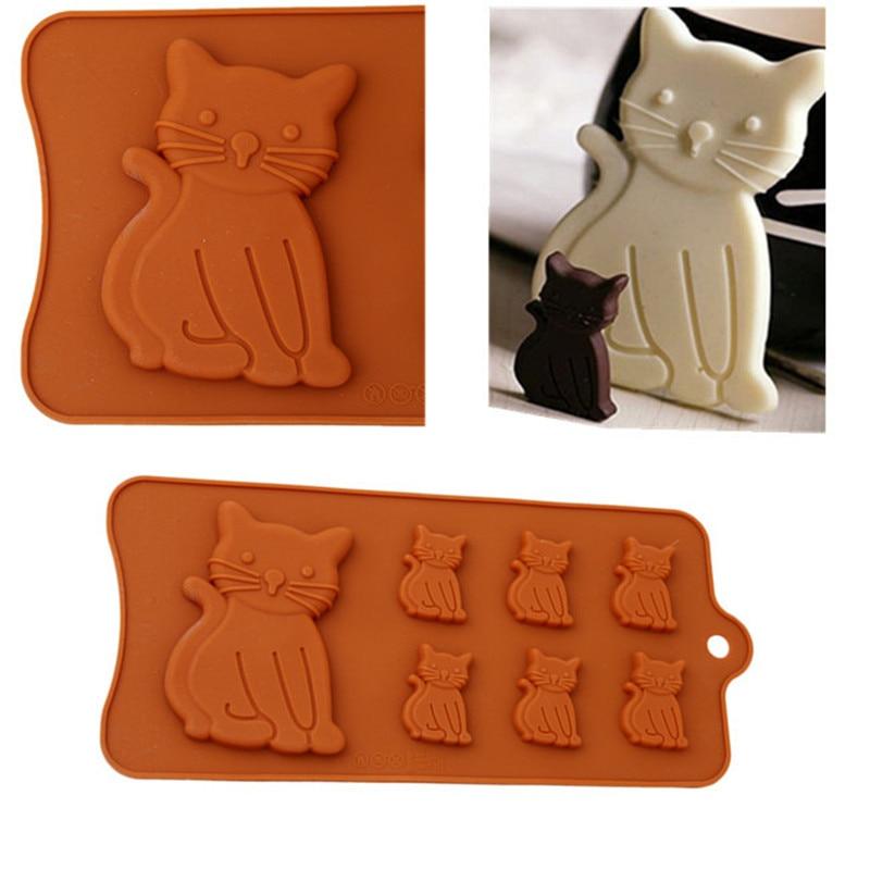 [해외]3D Cute Cat Kitten From 7 Cavity Silicone Molds for Sugar Fondant Soap Gum Paste Chocolate Kitchen Pastry Baking Accessories/3D Cute Cat Kitten Fr