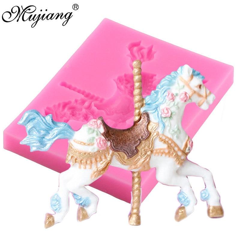 [해외]Mujiang Jewelry Carousel Horse Silicone Mould Fondant Cake Decorating Tools Cupcake Baking Tools Chocolate Candy Gumpaste Mold/Mujiang Jewelry Car