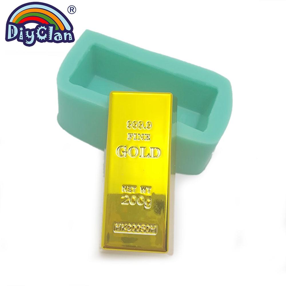 [해외]999.9 Gold Brick Shape Silicone Cake Mold Chocolate Handmade Soap Candle Gold Bar Shape Form F0964JT/999.9 Gold Brick Shape Silicone Cake Mold Cho