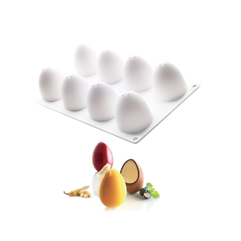 [해외]3d 부활절 달걀 모양 실리콘 케이크 무스 금형 도구 프랑스어 디저트 퐁당 주방 bakeware 실리콘 컵케익 양식 금형 머핀