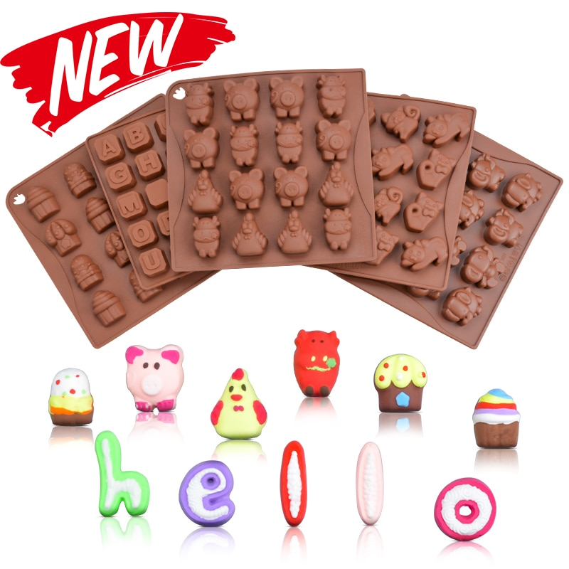[해외]SJ 2019 New 19 Shape 3D Silicone Numbers Animals Letter Chocolate Mold Candy Cookie Baking Fondant Mold Cake Decoration Tools/SJ 2019 New 19 Shape