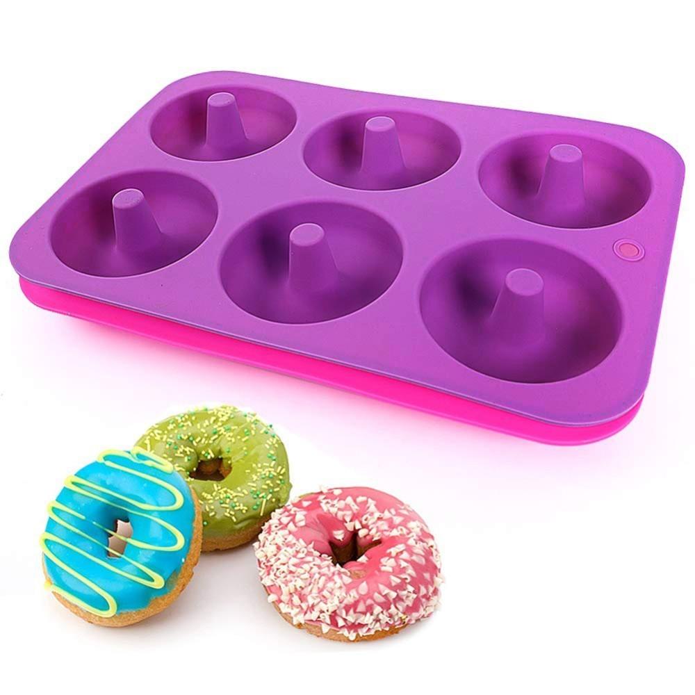 [해외]6 캐비티 bpa 무료 실리콘 도넛 베이킹 팬 비 스틱 몰드 식기 세척기 장식 도구 베이킹 nonstick 내열성 재사용 가능