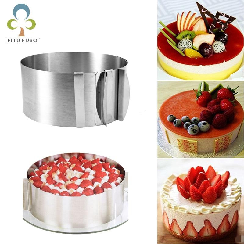 [해외]1Pc Adjustable Mousse Ring 3D Round Cake Molds Stainless Steel Baking Moulds Kitchen Dessert Cake Decorating Tools ZXH/1Pc Adjustable Mo