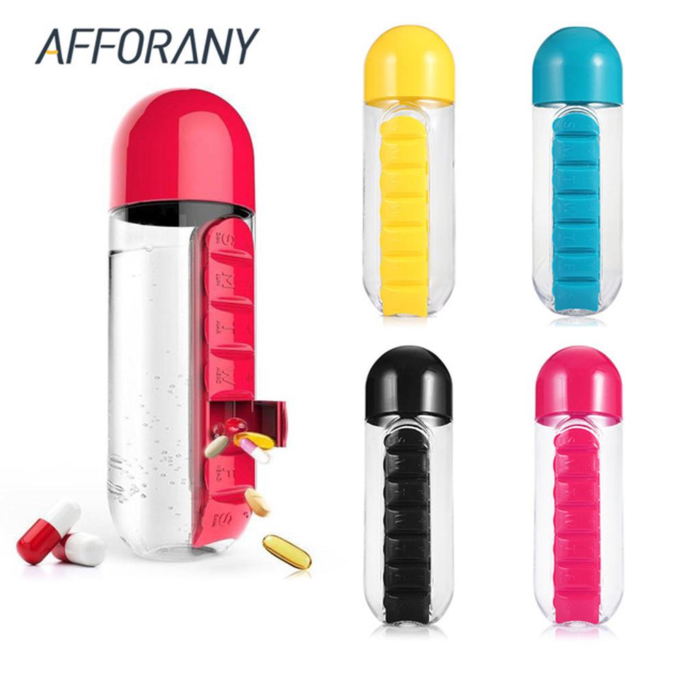 [해외]600 ml 휴대용 마시는 물 병 알 약 상자 결합 일일 주최자 필 스토리지 케이스 키트 플라스틱 야외 병 의학 상자/600ml Portable Drinking Water Bottle Pill Box Combine Daily Organizer Pill Stora