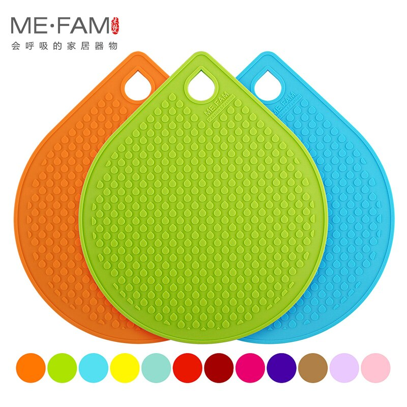 [해외]ME.FAM 4 Piece 18 cm Water Drop Silicone Mat Non-slip Heat Resistance Placemat Bowl Plate Pad For Cafe Kitchen Restaurant Office/ME.FAM 4 Piece 18