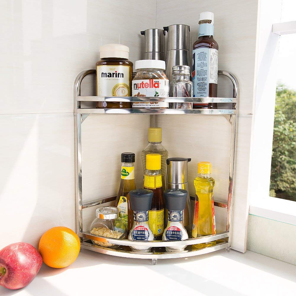 [해외]Stainless Steel Spice Shelf Herb Jar Rack Kitchen Organizer Storage Rack Holder Stand DQZWJ05/04/03/02/Stainless Steel Spice Shelf Herb Jar Rack K