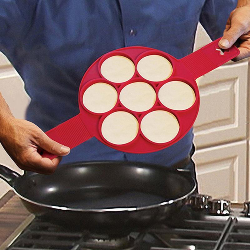 [해외]7 Holes Silicone Pancake Egg Ring Maker Nonstick Kitchen Cooking Tool Kitchen Pancake Mold Egg Tools Kitchen Cooking Gadget/7 Holes Silicone Panca