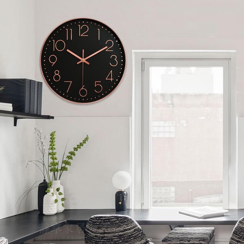[해외]Rose Gold 12inch Bedroom Digital Clock Fashion Home Decoration Quartz Clock Quartz Office Wall Clock Ornament/Rose Gold 12inch Bedroom Digital Clo