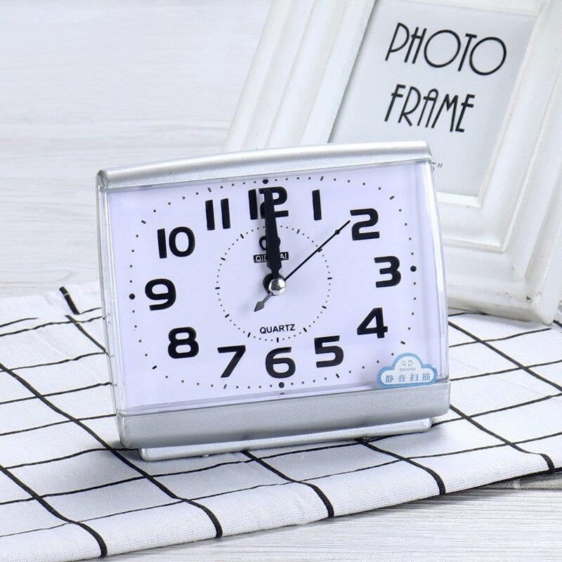 [해외]Bedroom Desktop Bed Wake Up Clocks Plastic Silent Sweeping Small Digital Clock Black and White Modern Square Alarm Clock/Bedroom Desktop Bed Wake