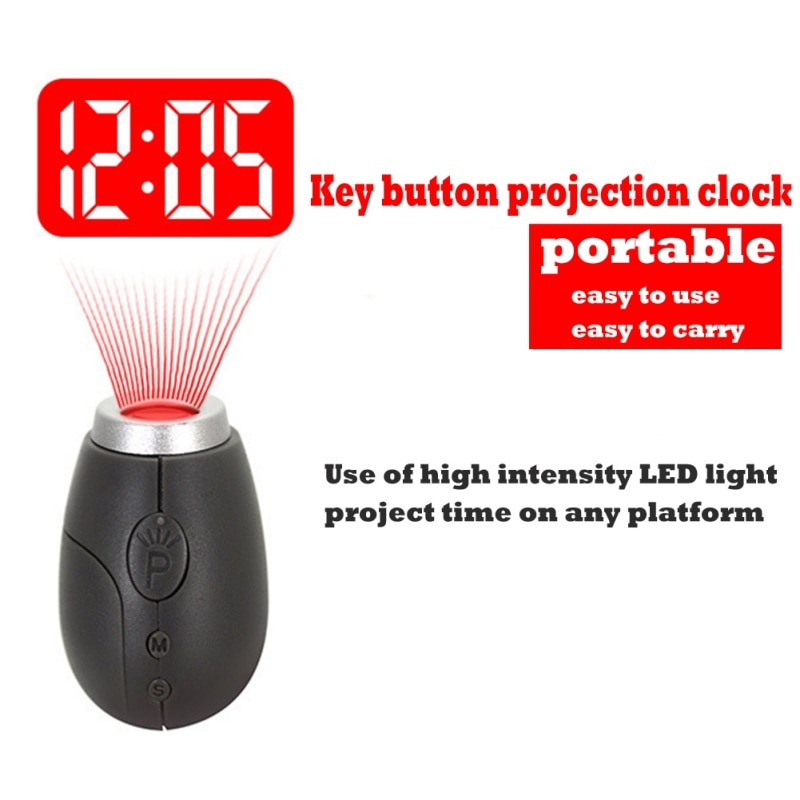 [해외]Digital Projection Clock LED Portable Clocks Mini ClockTime Projection Digital Watch Night Light Magic Projector Clock/Digital Projection Clock LE