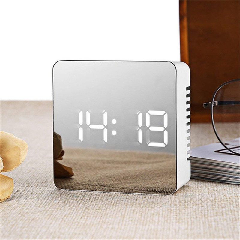 [해외]LED Digital Alarm Clock USB Electronic Mirror Clock Table Clocks Wake Up Time Temperature Display Desktop reloj despertador/LED Digital Alarm Cloc